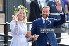 TRONDHEIM, NORWAY - JUNE 23: Crown Princess Mette-Marit, and Crown Prince Haakon of Norway depart for the Norwegian Royal Yacht, KS Norge, after a day of events in Trondheim, during the King and Queen of Norway's Silver Jubilee Tour, on June 23, 2016 in Trondheim, Norway.(Photo by Julian Parker/UK Press via Getty Images)