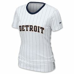 The women's MLB Nike Pinstripe Tee Shirt is so cute you might want to wear it everywhere! The form fitting style is feminine yet flattering and the scoop neck adds comfort. The pinstripe detail gives the MLB tee shirt style and the team name is across the chest.