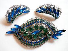 Vintage Hobé Brooch & Earring Set Sapphire Blue and Emerald Green Rhinestones Demi Parure by JanesVintageJewels on Etsy