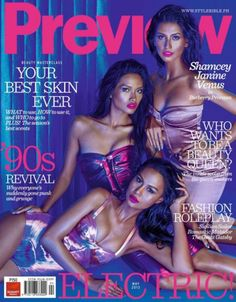 FORMER MISS   PHILIPPINES UNIVERSE L-R: VENUS RAJ, 2010  / JANINE TUGONON ,2012 /  SHAMCEY SUPSUP, 2011   PREVIEW MAGAZINE'S MAY, 2013 COVER PHOTOGRAPHED BY BJ  PASCUAL