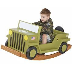 Child Rocking Truck Woodworking Plan — Jeepers, will the kids have fun climbing up imaginary mountains and fording make-believe mud bogs in this rugged SUV. The smooth MDF surface makes the bodywork ready to paint, and the solid-oak rockers will endure thousands of miles of fun. We've even located a Web site where you can order decals for any branch of the service you like. http://www.woodstore.net/rockingtruck.html