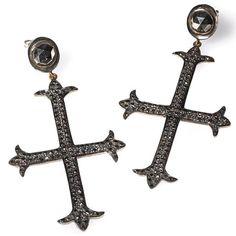 Edgy black diamond cross earrings by Catherine Angiel