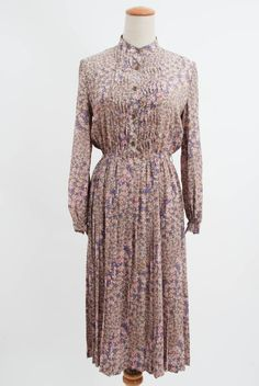 Vintage Purple Pink Beige Small Floral Stand Collar Nun Midi Dress High Waisted Pleasted Skirt Long Sleeves Retro Long Dress Bodice by FATFAM, $21.00
