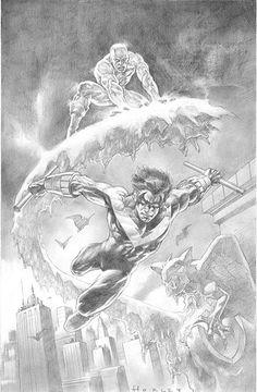 Iceman & Nightwing by Alex Horley An interesting duo. Iceman Marvel, Marvel Vs, Marvel Heroes, Marvel Characters, Marvel Comics, Comic Books Art, Comic Art, Book Art, Spiderman
