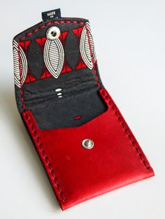 Red with Gray & Red Abstract (Pocket Wallet)