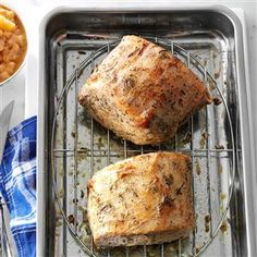 Roast Pork Loin with Rosemary Applesauce Recipe -I made this for a family get-together on my husband's birthday. The homemade rosemary applesauce adds an extra layer of comfort to the tender pork. —Angela Lemoine, Howell, New Jersey