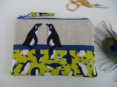 Penguin raw edge embroidery free motion machine applique purse pouch/cosmetic bag. A commission by Julie Filmer from The Peacock Emporium
