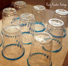 Dip glasses in light corn syrup then in colored sugar.  Dry on parchment paper for about an hour. If you don't, they will run.| Rusty Rooster Vintage