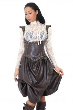 LDRAG04 - LEA LOOK GOLDEN STEAM UNDERBUST DRESS | Dresses (Alternative) | Phaze Clothing