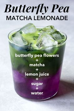 A pretty, color-changing layered iced matcha green tea lemonade made with butter. A pretty, color-changing layered iced matcha green tea lemonade made with butterfly pea flowers that turns the drink from blue to purple. Green Tea Lemonade, Butterfly Pea Flower Tea, Matcha Drink, Matcha Lemonade Recipe, Matcha Green Tea, Green Teas, Coffee Recipes, Summer Drinks, Healthy Drinks