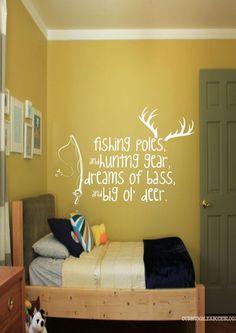 Fishing Poles & Hunting Gear - Hunting - Fishing - Nursery - Boys Bedroom - Home Decor - Gift Idea - Bedroom - High Quality Vinyl Graphic by EmmaEmbellishments on Etsy