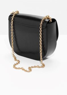 & Other Stories image 3 of Chained Leather Saddle Bag  in Black