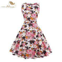 Tunic Vestidos S-4XL Plus Size Women Dress Summer Floral Print Retro Casual Party Robe Pinup Rockabilly 50s Vintage Dresses