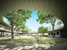 Un tejado verde en espiral para enseñar a 500 niños a cultivar sus propios alimentos El estudio de arquitectura Vo Trong Nghia ha decidido ...