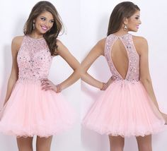 Luxurious Crystal Beaded Backless Short Prom Dresses,Applique Tulle Homecoming Dresses,Sparkly Custom Made Homecoming Party Gowns 2016 Homecoming Dresses, Hoco Dresses, Cheap Prom Dresses, Pretty Dresses, Beautiful Dresses, Evening Dresses, Formal Dresses, Dresses 2016, School Dance Dresses