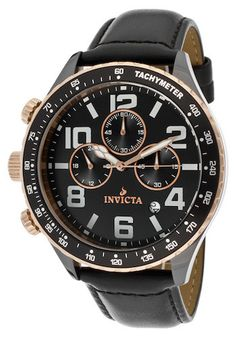 Invicta 11252 Men's Watch Ceramics Chronograph Black Dial Black Genuine Leather