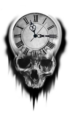 Tattoo Design Ideas:  Skull Clock.