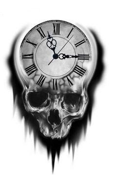 Tattoo Design Ideas:  Skull Clock.