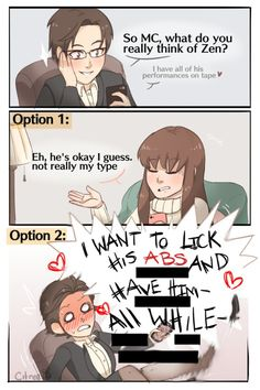 Literally everytime I talk to Jaehee about Zen (I wish there was an in between option)