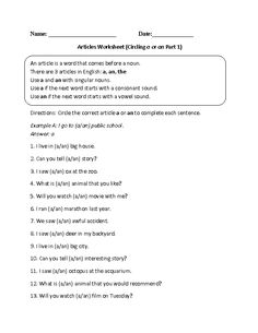 A, An, or The Articles Worksheet