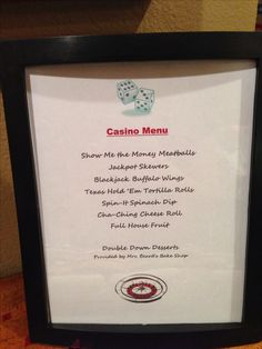 Casino night food menu