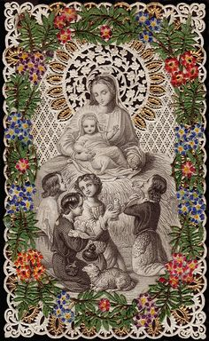 Mary with children.  © by Holy Card Heaven
