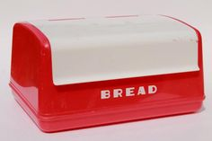 vintage LustroWare bread box in cherry red & white plastic, 50s Lustro Ware breadbox