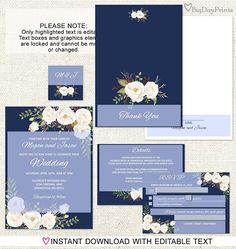 Navy and White Floral Wedding Invitation Set, White Flowers, includes Five Piece Template. INSTANT DOWNLOAD with EDITABLE text - you personalize at home. ALL TEXT is editable! INSTANTLY DOWNLOAD these digital PDF files that you personalize at home - just open the file in Adobe Reader and type over my sample text. You can change font style, size or color of text. - WHAT YOU WILL RECEIVE - - 5x7 Invitation Template (2 per 8.5x11 page) - 5x7 Invitation Template Alternative Filling (2 per…