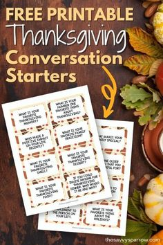Thanksgiving Conversation Starters - Printable Cards for Dinner Time!