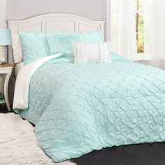 Ravello Pintuck Comforter Set by Lush Decor Light Aqua, Size: Full/Queen Aqua Bedding, Cute Bedding, Teen Bedding, Turquoise Comforter, Kids Comforter Sets, Kids Comforters, Cute Bedspreads, Joss And Main, Arquitetura