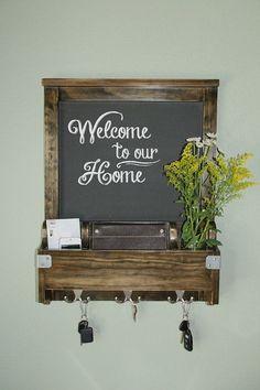 Entry Hall Way Organizer - Chalkboard, Mail, Phone, Key Hooks for Keys ...