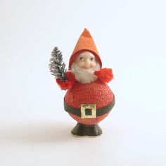 Vintage Santa Gnome Bottle Brush Tree Christmas by efinegifts