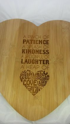 Are you looking for that special present for valentines day or maybe a wedding present gift. How about a laser cut and engraved Recipe for Love heart chopping board. Made from a bamboo wood and measuring 35 cm x 33 cm. £10.00 each plus £5.00 p&p  Made by Love Emma x