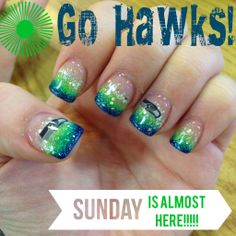 My AWESOME Seahawk Nails by Jonathan's Nail Salon and Spa! Go Hawks #Seahawks