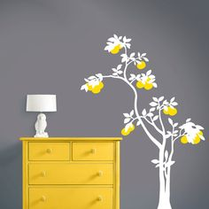 Yellow and white tree decal for a gray nursery - done!    Tree Wall Decals  Chinoiserie Pomegranate Tree  by Lulukuku, $39.50