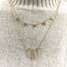 Need Now: A fresh take on your Pavé Chevron Necklace. Add in layers from the new Turquoise Layering Necklace to switch up your look!