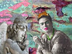Mexican Artist Frida Kahlo Fabric Quilt Block Sew On Applique FKFB0125.  Mexican Artist Frida Kahlo Fabric Quilt Block Sew On Applique FKFB0125. Frida Kahlo posing holding her cigarette next to her guardian angel. This is so intriguing to the beloved mexican artist Frida Kahlo to any of your quilts. A special sew on applique to add the exquisite mexican art folklore. Frida Kahlo Fabric, Mexican Artists, Best Gifts For Men, Folklore, Quilt Blocks, Applique, Sew, Angel, Quilts