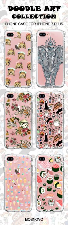 Mosnovo Doodle Art (Totoro, Elephant, Monkey Emoji, Star War, Ice-Cream,Sushi) iPhone 7 Plus Cases Collection☞ http://amzn.to/2ec8YIm #Mosnovo