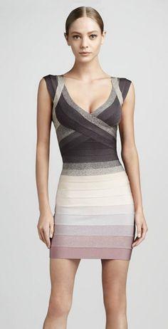 Herve Leger Grey Gradient V Neck Bandage Dress