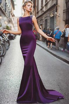 Prom Dress Fitted, Neckline Satin Purple Mermaid Evening Dresses With Beadings There are delicate lace prom dresses with sleeves, dazzling sequin ball gowns, and opulently beaded mermaid dresses. Backless Prom Dresses, Mermaid Evening Dresses, Cheap Prom Dresses, Formal Evening Dresses, Elegant Dresses, Evening Gowns, Purple Evening Dress, Dress Formal, Bridesmaid Dresses
