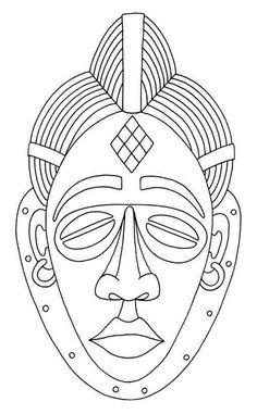 Genius Free Coloring Pages Of African Mask Tiki Maske, Afrique Art, Mask Drawing, African Crafts, Art Premier, Masks Art, African Masks, African Design, Art Plastique