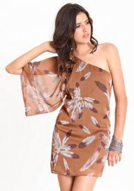 feather print one-shoulder dress