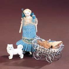 Antique Dolls and Toys of LEGO - Session 1: 174 German Bisque Dollhouse Doll with Carriage and Dog