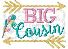 Embroidery design 4x4 5x7 6x10 BIG Cousin by SoCuteAppliques