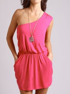 love one shoulder dresses! and the fact that it has pockets!!