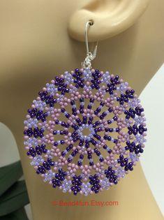 "Seed Beaded Earrings, Name: ""Lilac Blooms"" Seed Bead Earrings, Beaded Earrings, Etsy Earrings, Seed Beads, Hoop Earrings, Statement Earrings, Beading Tutorials, Beading Patterns, Seed Bead Bracelets Tutorials"