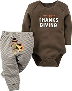 Carter's Unisex Baby 2 Pc Sets Brown 3 Months