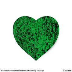 Black & Green Marble Heart Sticker
