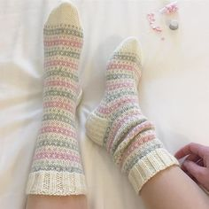 Something cute • Jotain söpöä. _____ #stripe #stripesocks #raitasukat #helpotvillasukat #novitaknits #7veljestä #villasukka #neuloosi… Crochet Socks, Knitting Socks, Knit Crochet, Cute Socks, 2 Ply, Diy Clothing, Handmade Clothes, Knitting Patterns, Winter Fashion