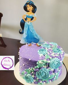 Jasmine Birthday Cake, Birthday Sheet Cakes, Birthday Cake Girls, 5th Birthday, Aladdin Cake, Aladdin Party, Princess Jasmine Cake, Jasmin Party, Bithday Cake